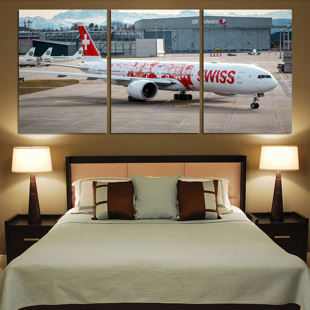 Swiss Airlines Boeing 777 Printed Canvas Posters (3 Pieces)