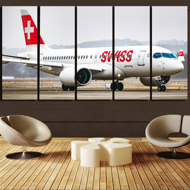 Swiss Airlines Bombardier CS100 Printed Canvas Prints (5 Pieces) Aviation Shop