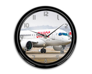 Swiss Airlines Bombardier CS100 Printed Wall Clocks Aviation Shop