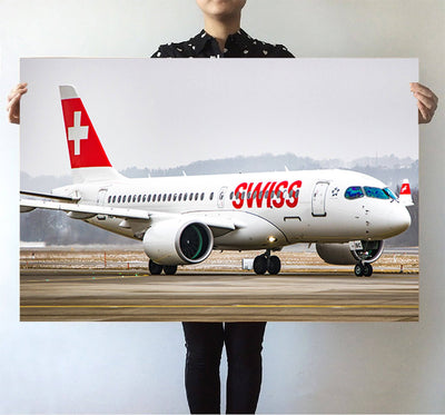 Swiss Airlines Bombardier CS100 Printed Posters