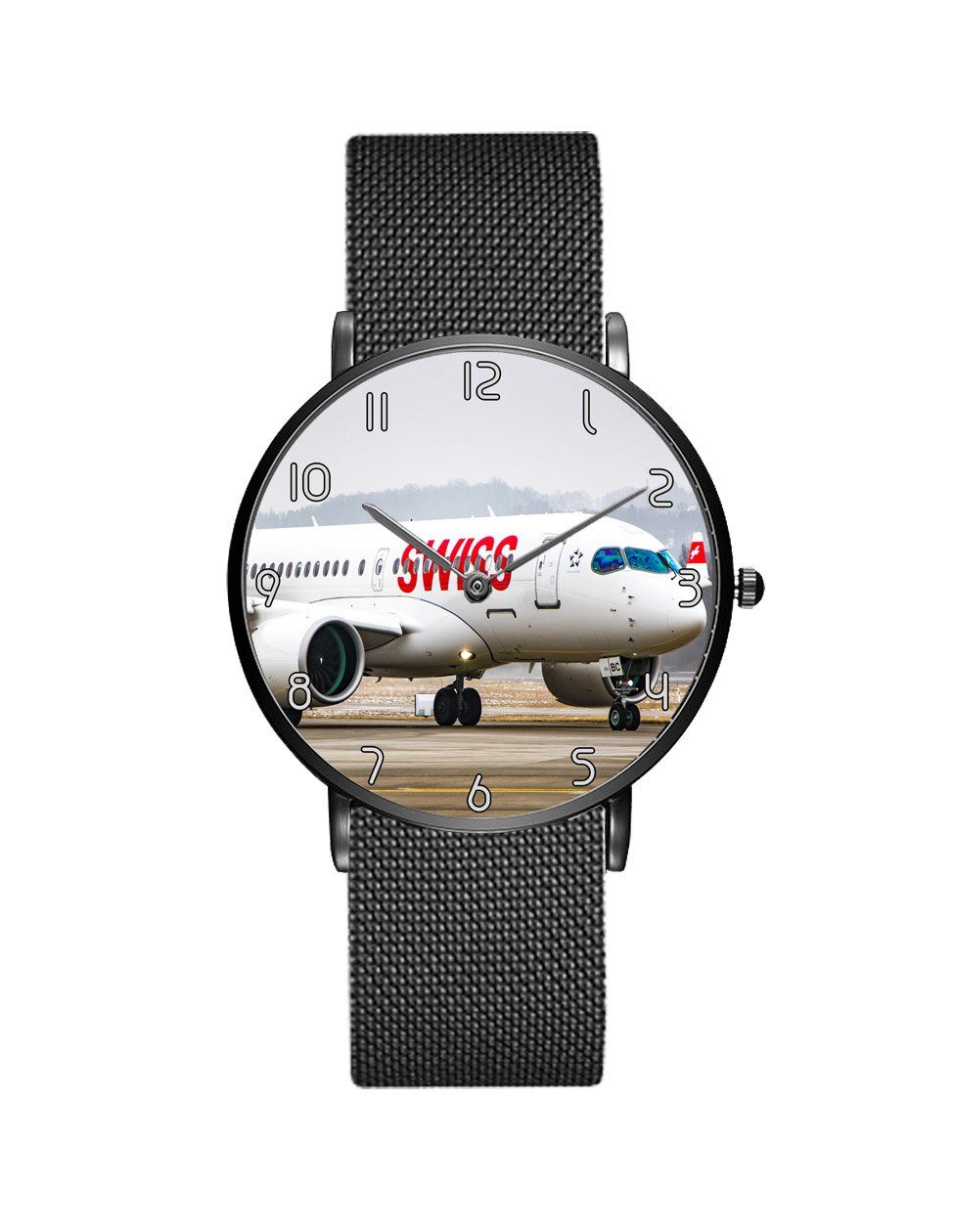 Swiss Airlines Bombardier CS100 Stainless Steel Strap Watches Aviation Shop Black & Stainless Steel Strap