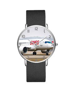 Swiss Airlines Bombardier CS100 Stainless Steel Strap Watches Aviation Shop Silver & Black Stainless Steel Strap