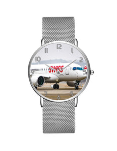 Taking Off Aircraft Printed Stainless Steel Strap Watches Aviation Shop Silver & Black Stainless Steel Strap