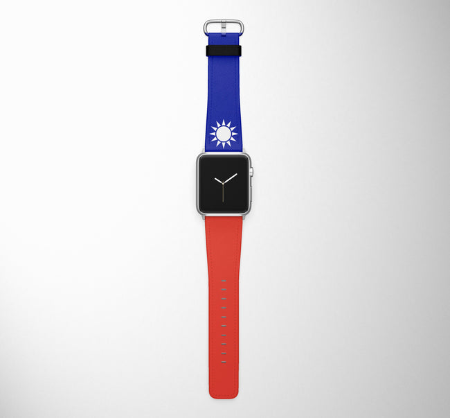 Taiwan Flag Designed Leather Apple Watch Straps