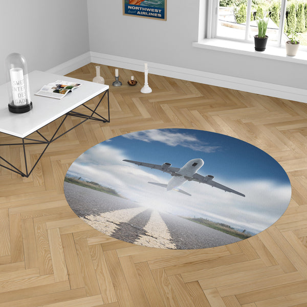 Taking Off Aircraft Designed Carpet & Floor Mats (Round)