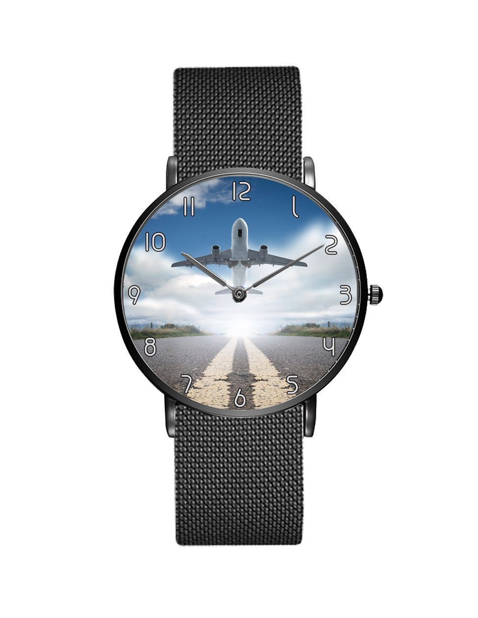 Taking Off Aircraft Printed Stainless Steel Strap Watches Aviation Shop Black & Stainless Steel Strap