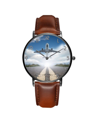 Taking Off Aircraft Printed Leather Strap Watches Aviation Shop Black & Brown Leather Strap