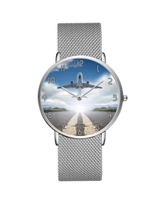 Taking Off Aircraft Printed Stainless Steel Strap Watches Aviation Shop Silver & Silver Stainless Steel Strap