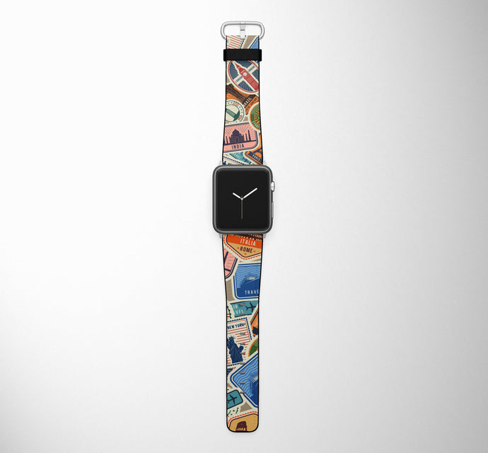 Travel Stickers Designed Leather Apple Watch Straps