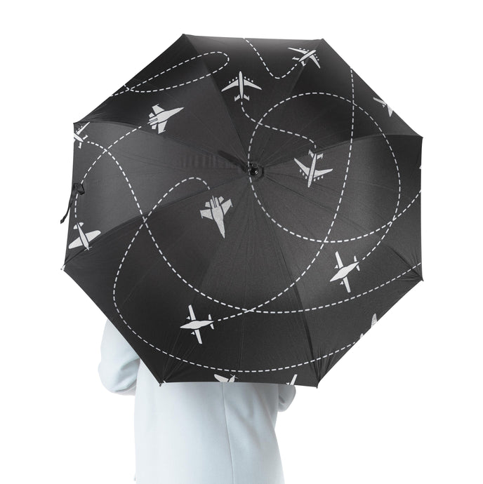 Travel The World By Plane (Black) Designed Umbrella
