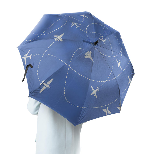 Travel The World By Plane (Blue) Designed Umbrella