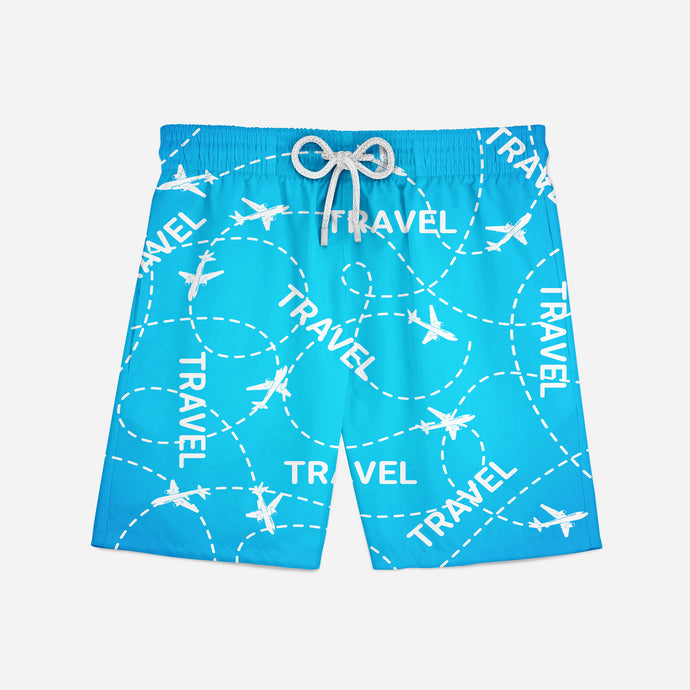 Travel & Planes Designed Swim Trunks & Shorts