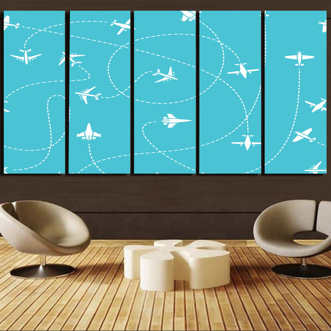 Travel The The World By Plane Canvas Prints (5 Pieces) Aviation Shop