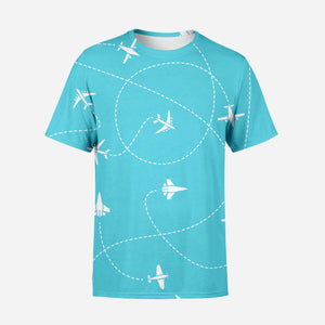Travel The The World By Plane Printed T-Shirts