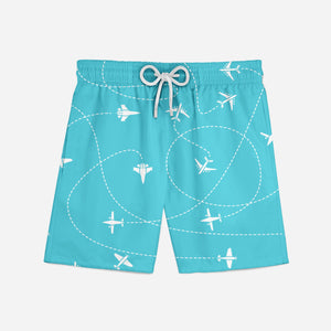 Travel The World By Plane Designed Swim Trunks