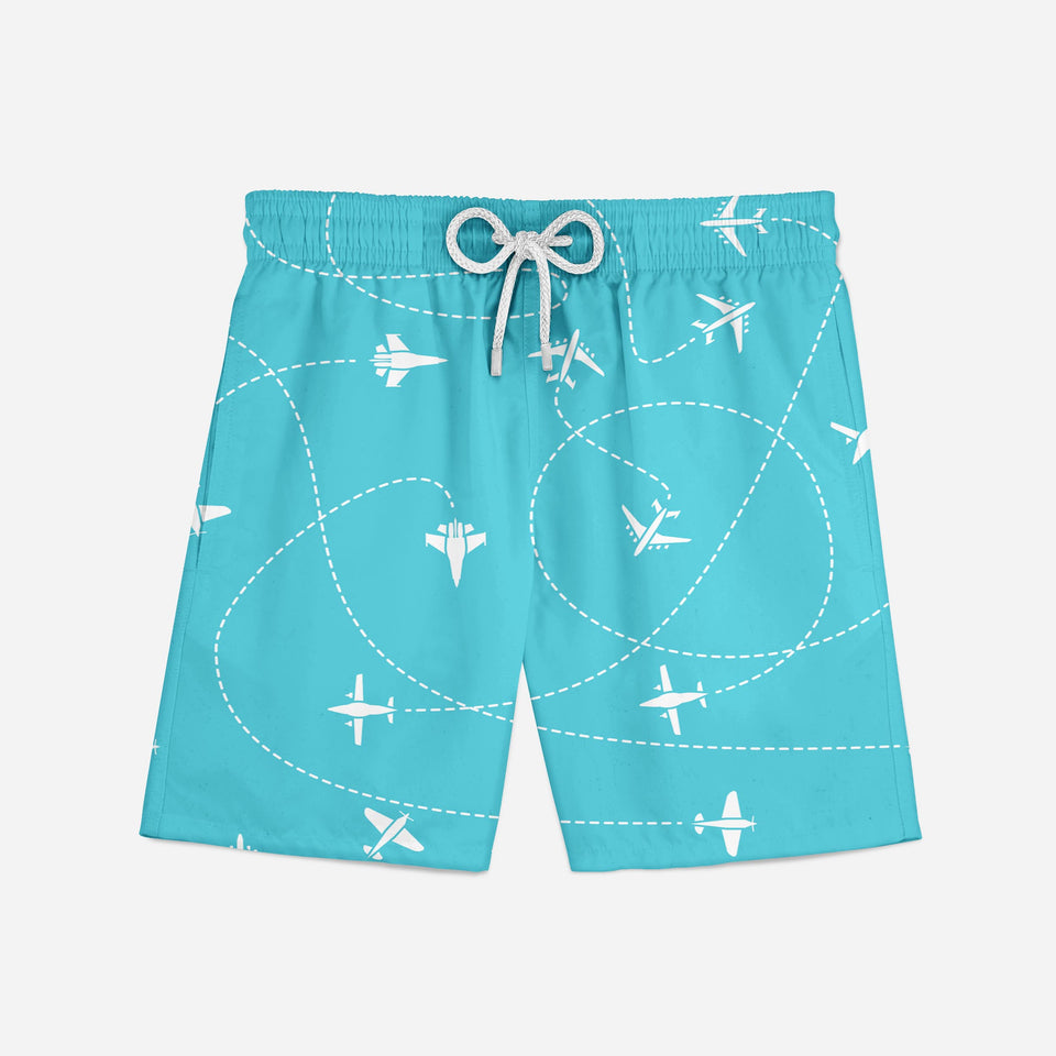 Travel The World By Plane Designed Swim Trunks & Shorts
