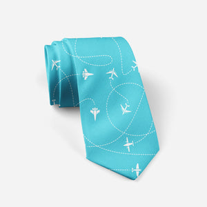 Travel The World By Plane Designed Ties