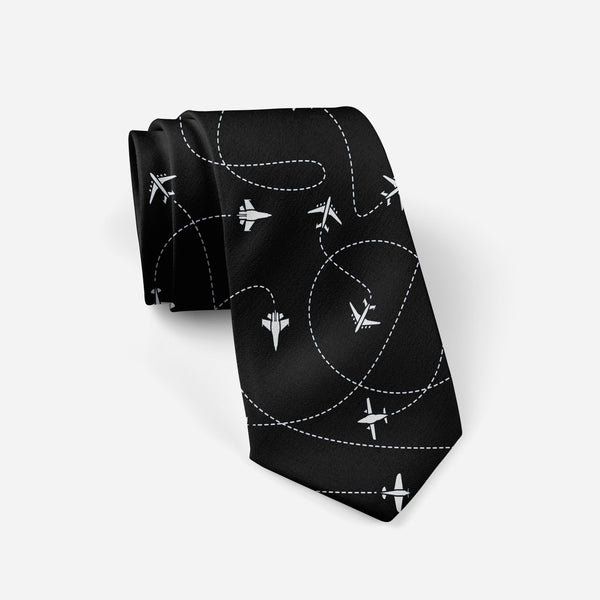 Travel The World By Plane (Black) Designed Ties