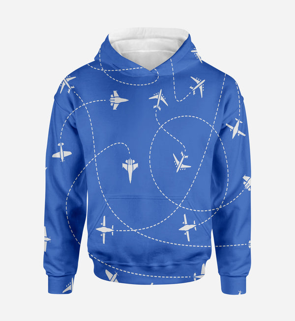Travel The World By Plane (Blue) Printed 3D Hoodies