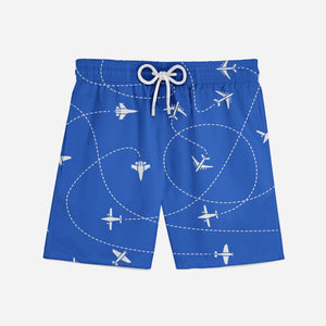 Travel The World By Plane (Blue) Designed Swim Trunks