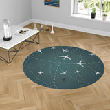 Travelling with Aircraft (Green) Carpet & Floor Mats (Round)