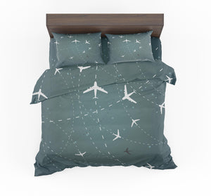 Travelling with Aircraft (Green) Designed Bedding Sets
