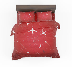 Travelling with Aircraft (Red) Designed Bedding Sets