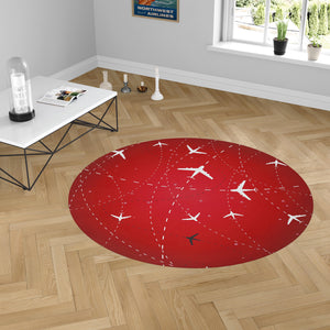 Travelling with Aircraft (Red) Designed Carpet & Floor Mats (Round)