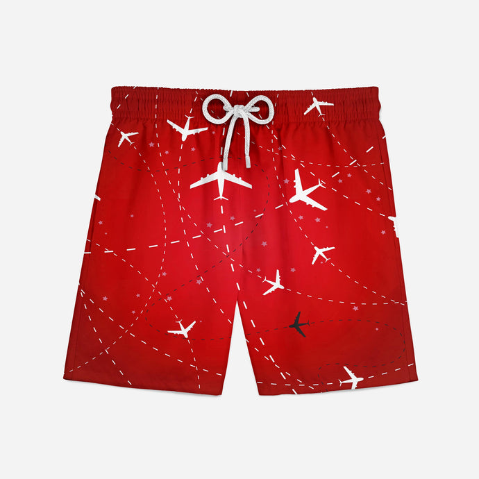 Travelling with Aircraft (Red) Designed Swim Trunks & Shorts