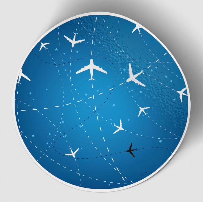 Travelling with Aircraft (Blue) Designed Stickers