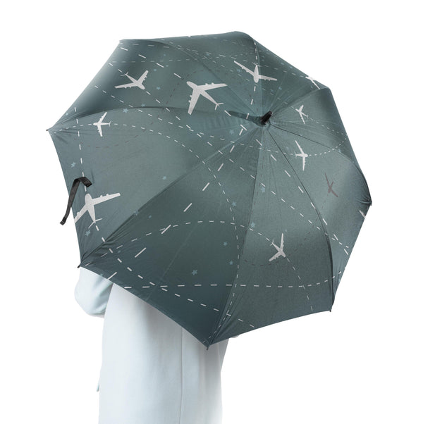Travelling with Aircraft (Green) Designed Umbrella