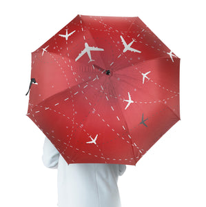 Travelling with Aircraft (Red) Designed Umbrella