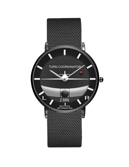 Airplane Instrument Series (Turn Coordinator) Stainless Steel Strap Watches Pilot Eyes Store Black & Stainless Steel Strap