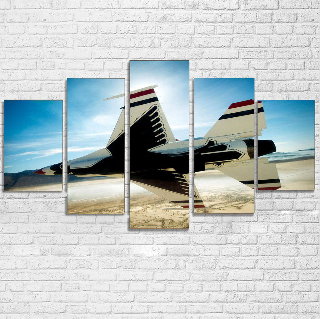 Turning Right Fighting Falcon F16 Printed Multiple Canvas Poster