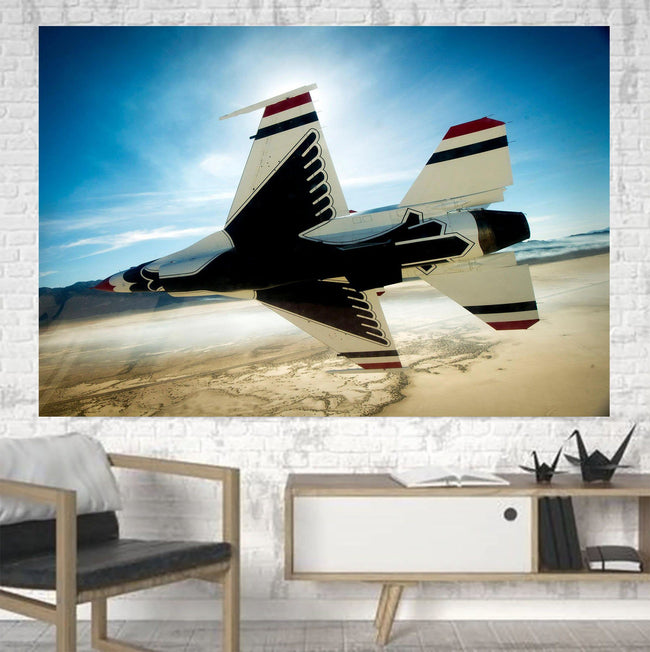 Turning Right Fighting Falcon F16 Printed Canvas Posters (1 Piece) Aviation Shop