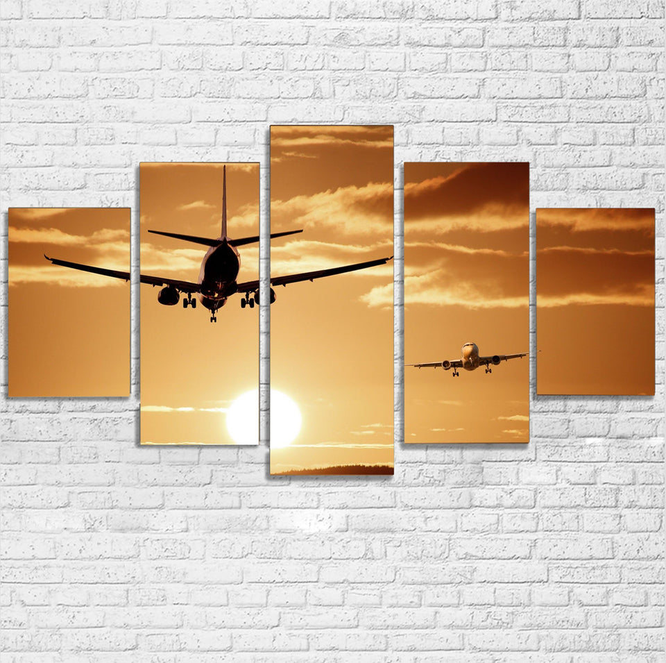 Two Aeroplanes During Sunset Printed Multiple Canvas Poster Aviation Shop
