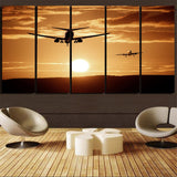 Two Aeroplanes During Sunset Printed Canvas Prints (5 Pieces) Aviation Shop
