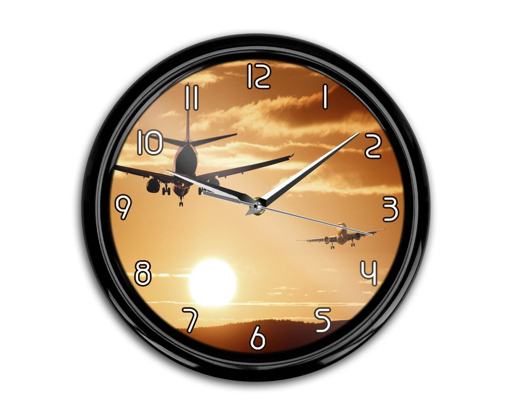 Two Aeroplanes During Sunset Printed Wall Clocks Aviation Shop