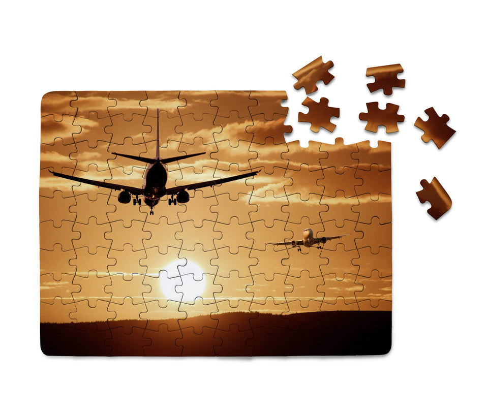 Two Aeroplanes During Sunset Printed Puzzles Aviation Shop