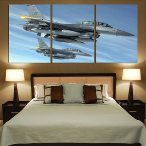 Two Fighting Falcon Printed Canvas Posters (3 Pieces) Aviation Shop