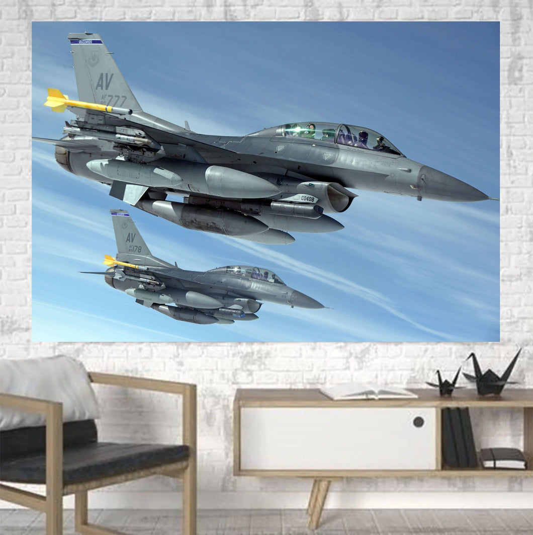 Two Fighting Falcon Printed Canvas Posters (1 Piece) Aviation Shop