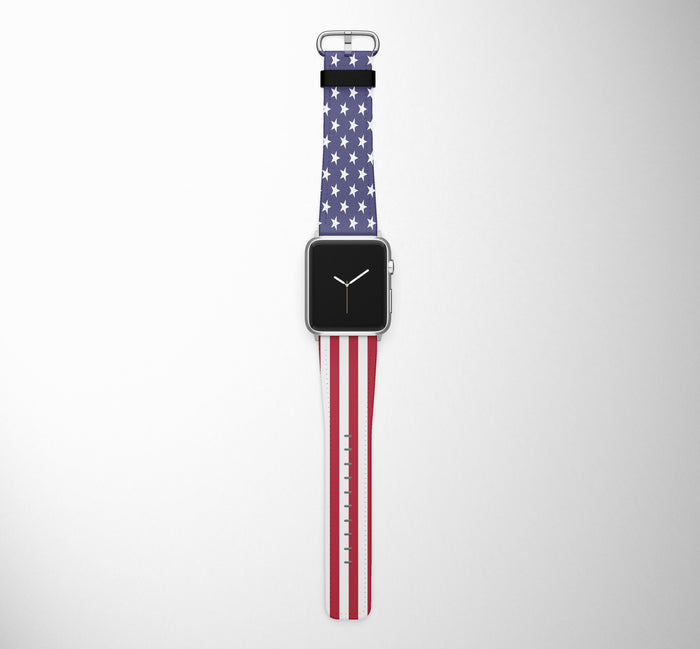 USA Flag Designed Leather Apple Watch Straps