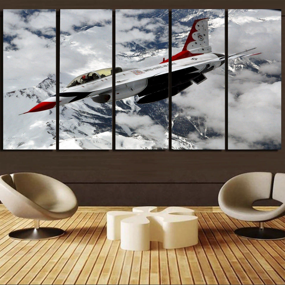 US AirForce Show Fighting Falcon F16 Printed Canvas Prints (5 Pieces) Aviation Shop