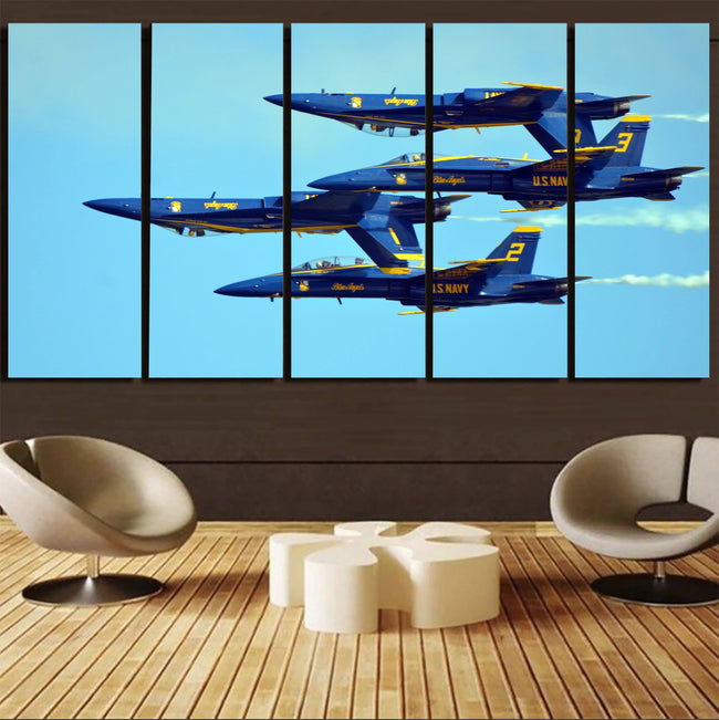 US Navy Blue Angels Printed Canvas Prints (5 Pieces) Aviation Shop