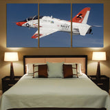 US Navy Training Jet Printed Canvas Posters (3 Pieces) Aviation Shop