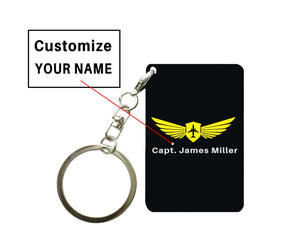 Customizable Name & Badge (Vertical) Designed Key Chain Pilot Eyes Store