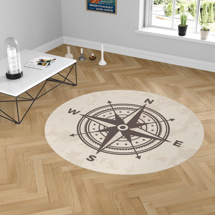 Vintage Designed Compass Carpet & Floor Mats (Round)