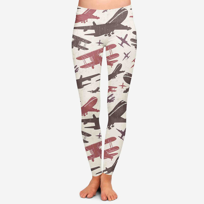 Vintage & Jumbo Airplanes Designed Women Leggins