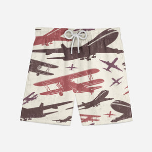 Vintage & Jumbo Airplanes Designed Swim Trunks