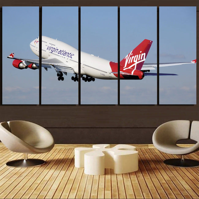 Virgin Atlantic Boeing 747 Printed Canvas Prints (5 Pieces) Aviation Shop